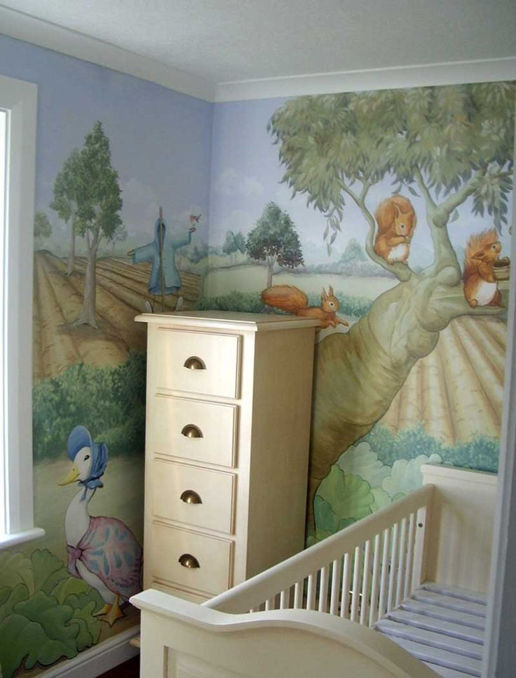 17 best images about the art of nursery wall murals on for Baby room mural ideas
