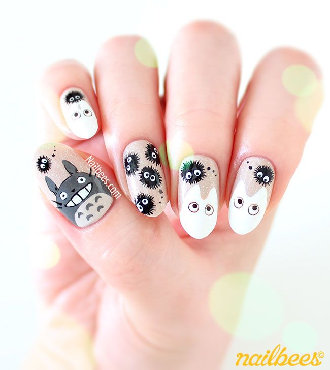 Totoro Nail Art Design                                                                                                                                                     More