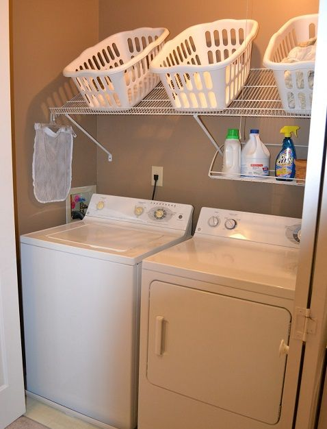 Laundry room wire shelving