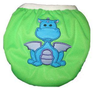 Zwemluier van het merk Monkey Doodlez. Kleur is groen met een stoere #draak applicatie.  #baby #zwemluier