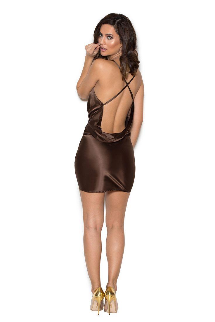 Clothing : Bodycon Dresses : 'Aitana' Chocolate Brown Draped Satin Dress
