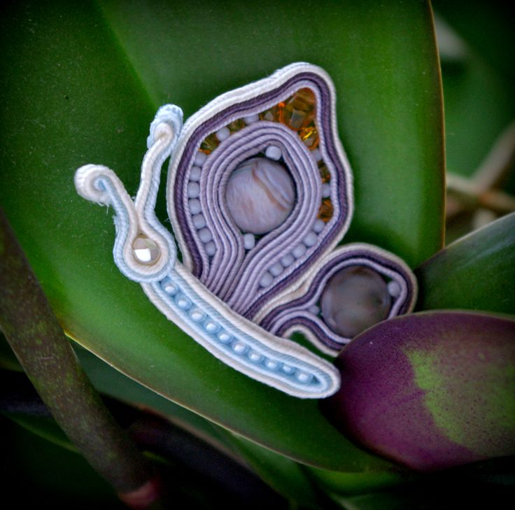 Pastel&Pearl soutache butterfly on my orchids ;) by Okami- hand made with passion www.okami-handmade.blogspot.com