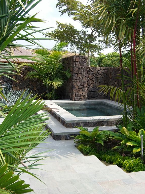 Tropical Hot Tub with Fence, Pool with hot tub, exterior tile floors