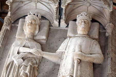The joint tomb of João I of Portugal (d. 1433) and his queen, Philippa of Lancaster (d. 1415) in Batalha Monastery, Portugal. They lie holding hands.