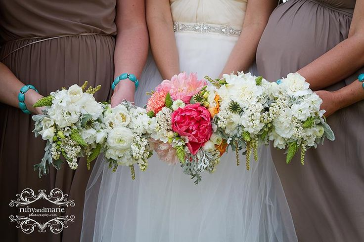 White and green bridesmaid bouquets - Rustic wedding flowers made by Amy's Flowers