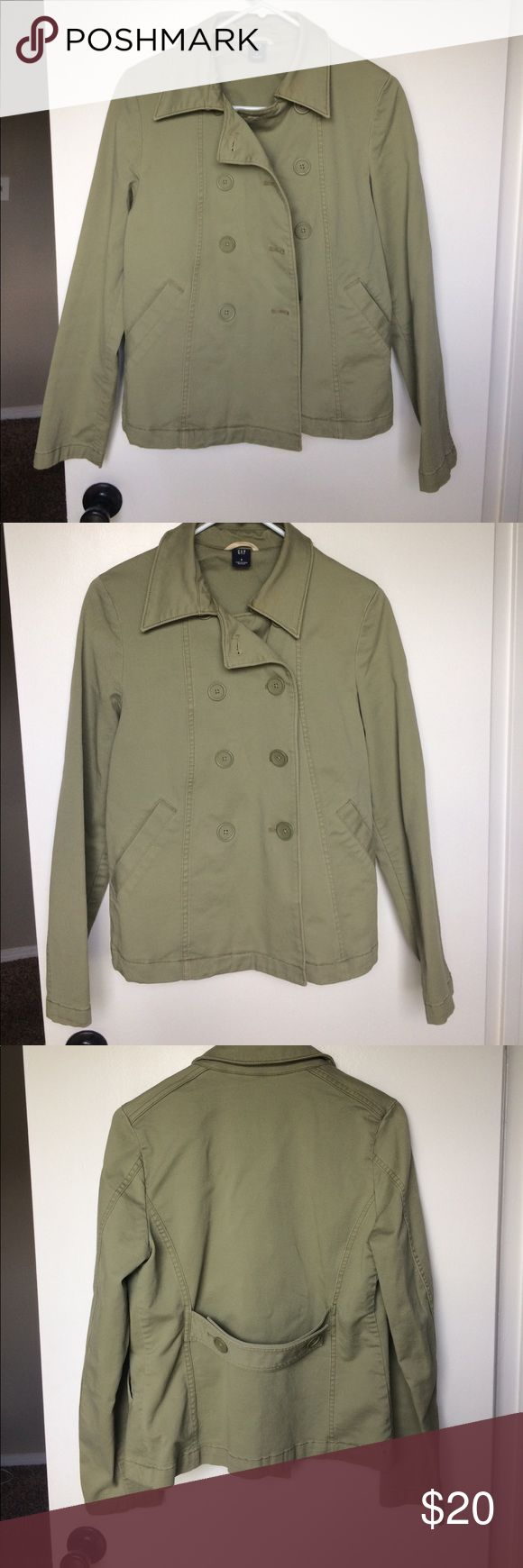 Gap olive green jacket Olive green jacket size 6. EUC. This jacket fits so nicely and is super cute on! Only worn a handful of times and has been kept hanging in a closet for the past couple years (too small for me now ☹️). Only flaw is a light stain on the collar, as seen in the last picture, but you could probably work it out with some stain remover. Smoke free and pet free home. GAP Jackets & Coats Utility Jackets