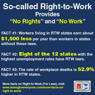 The true purpose of so-called #RightToWork is to destroy #labor unions and the…