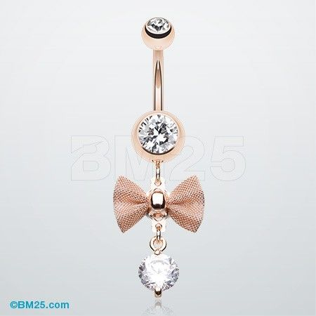 Rose Gold Dainty Bow-Tie Belly Button Ring. I'm going to loose this weight, because I want my belly button pierced so bad!