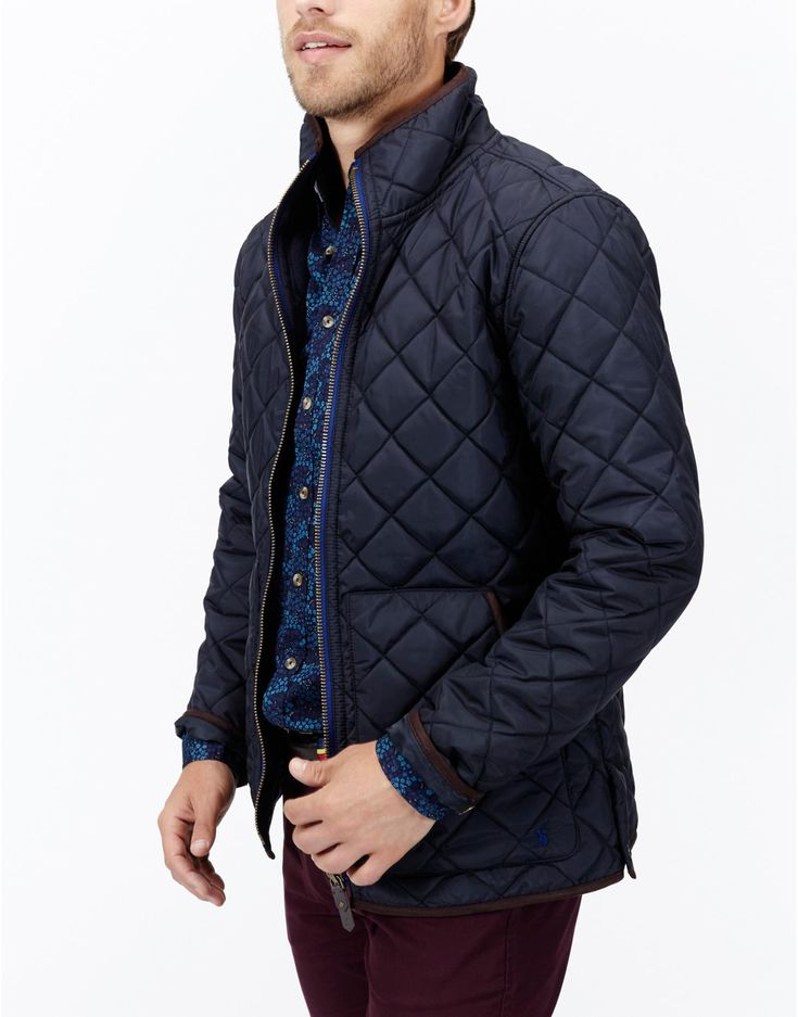 Mens quilted jacket with leather sleeves