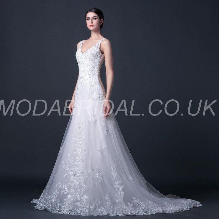 Modabridalcouk SUPPLIES Tailor Made Floor Length Church Appliques Beach Pear Winter Wedding Dress