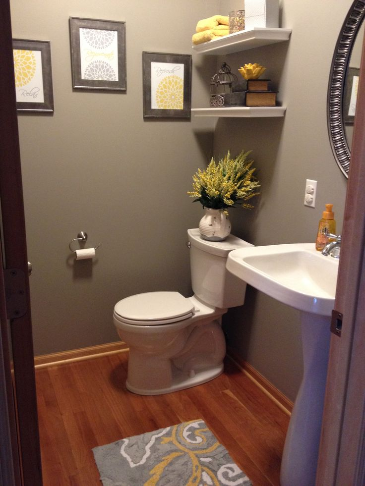 Gray and yellow bathroom half bathroom pinterest for Bathroom hanging decorations