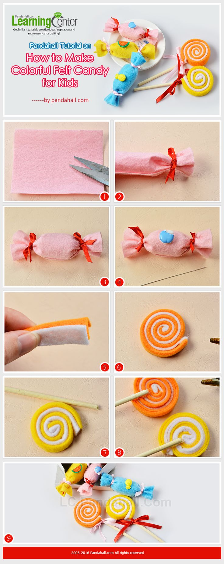 Pandahall Tutorial on How to Make Colorful Felt Candy for Kids #tutorial #feltcandy #pandahall