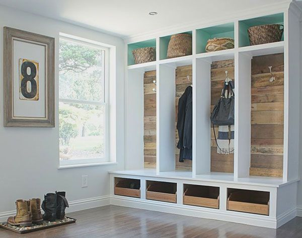 salvaged wood entry built ins
