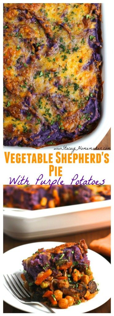 Vegetable Shepherd's pie is loaded with sauteed crimini mushrooms, chick peas, mixed veggies, and topped with creamy purple mashed potatoes. This is our favorite fall casserole! Vegetarian.