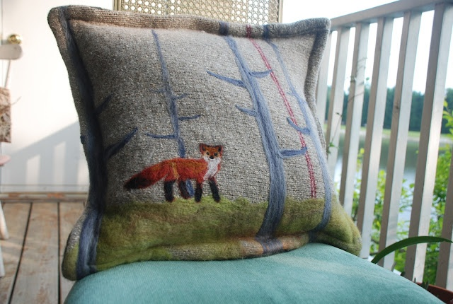 Beautiful needle felted fox in the woods on a pillow made from old sweaters, looks like it would be nice and cuddly - by PerfectlyBohemian