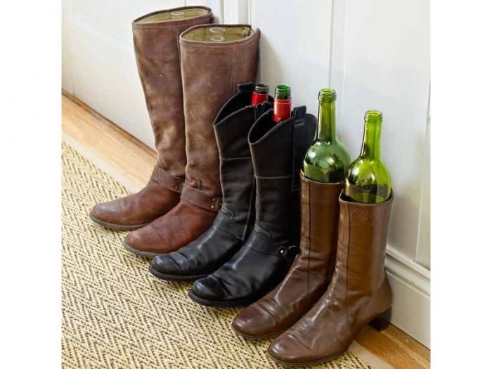 Place used wine bottles -- I'm gonna try a whisky bottle :) -- in your boots to help keep their shape