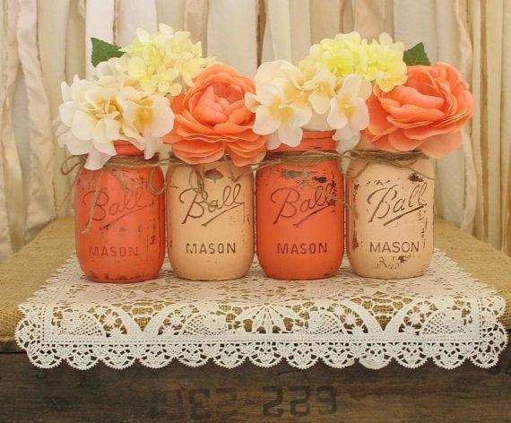 Mason Jars, Ball jars, Painted Mason Jars, Flower Vases, Rustic Wedding Centerpieces, Light Coral and Dark Coral Mason Jars