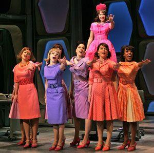 Making progress: ensemble member Tanya Birl, far right, in the '60s-era How to Succeed. Photo by Ari Mintz, Courtesy How to Succeed: Color Mix, Men Style, Break Costumes, Add Bolero, Costume Design, Musical Theatre, Photo, Bolero Jackets