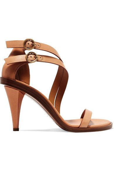 Heel measures approximately 90mm/ 3.5 inches Tan leather Buckle-fastening ankle strap Designer color: Misty Beige Made in Italy theinfinityemporium.com  @newshoes