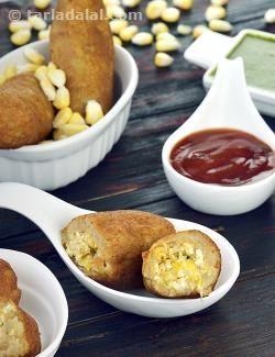 Paneer and Corn Croquettes recipe   by Tarla Dalal   Tarladalal.com   #32938