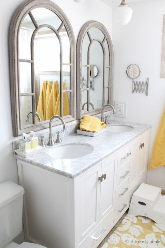 Awesome mirrors and love pop of yellow accents. Need two separate sink areas because Will is a bit messy.