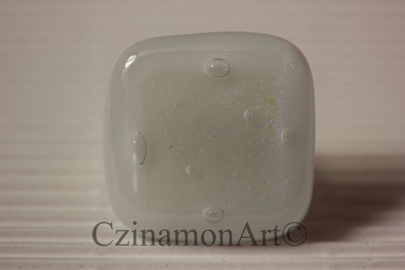 Fused Glass Ring   White and Transparent Purple by CzinamonArt, €25.00