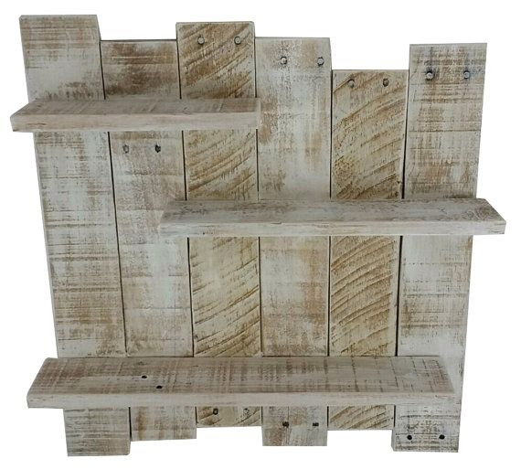 White Pallet Wood Shelf Wall Decor White by TheWoodGarageLLC