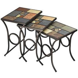 """Set of three nesting tables with scrolling bases and mosaic slate tops.    Product: Small, medium and large nesting table   Construction Material: Metal and slate Color: Multi   Features: Slate mosaic design  Dimensions:Small: 20"""" H x 16"""" W x 16"""" DMedium: 22"""" H x 18.5"""" W x 16"""" DLarge: 24"""" H x 20.5"""" W x 16"""" D   Note: Some assembly may be required   Cleaning and Care: Dust frequently using a clean, specially treated dusting cloth that will attract and hold dust particles"""