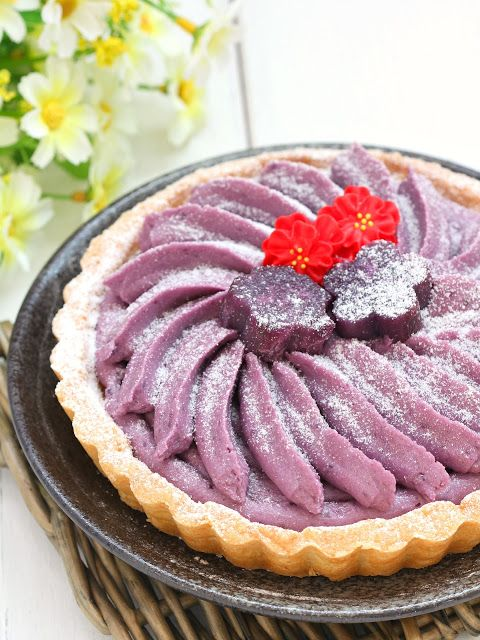 my bare cupboard: Purple sweet potato and yogurt cream tart