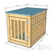DIY Dog kennel end table! maybe make the large front w/ hidden hinge and slide the kennel inside