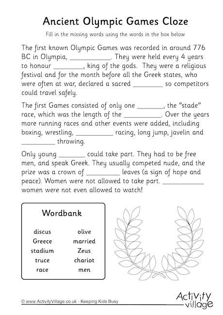 Ancient Olympics Cloze Worksheet