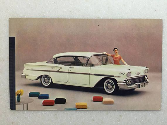 Vintage Automobile Postcard Chevrolet 1958 Bel Air Sport Sedan