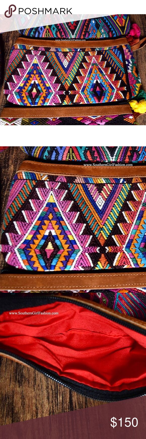 TRIBAL BAG Bohemian Embroidered Clutch Wristlet One Size. New in packaging.    • Beautiful tribal inspired wristlet featuring ethnic embroidered patchwork detailing throughout & tassel accent on zipper.  • Full zip closure.  • Leather detailing at top & wrist strap.  • Hand-made.  • Inside is fully lined.  • Note: this listing is for the bag shown in photo(s) 1, 2 and 3.  • Contin. below.   {Southern Girl Fashion - Closet Policy}   ✔Bundle discount: 20% off 2+ items.   ✔️ Items are priced to…