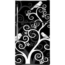 Refrigerator Skins Covers | Birds On Swirls Refrigerator Cover