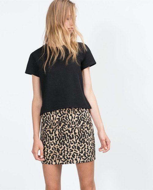 animal print short tube skirt zara