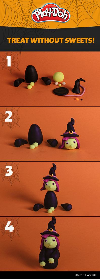 Once your kids create this adorable witch, help them give her a backstory! They'll have fun creating their own story with Play-Doh compound while developing their imaginative play skills! Then, spread the fun by handing out mini cans instead of candy this year