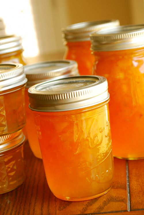 Fresh Peach Jam. This is delicious and beautiful. I like it with the fruit still in it. So yummy on toast with butter!