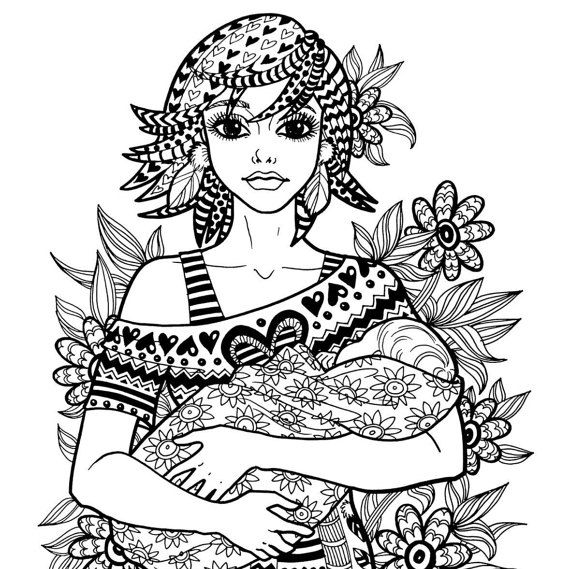 TREASURE Of THE HEART- Coloring Page Motherhood Series Zentangle Method Line Art Decorative Doodle Illustration Mother New Baby Nursery Art