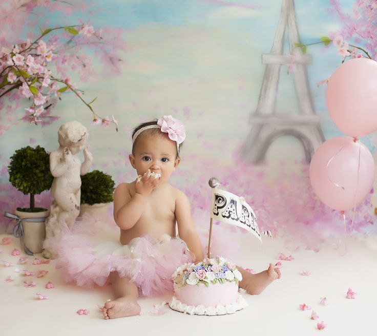 Paris - Eiffel Tower photo- shoot of one year old baby girl cake smash from Willow Baby Photography in San Jose Ca.