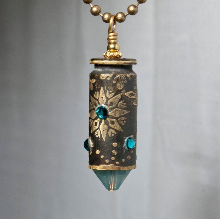 Snowflake etched bullet casing pendant