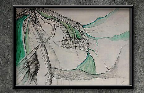 "artist | - rysunek ""PERITHEIS TENERA"" FORMAT - 70 x 50 cm TECHNIKA - OLEJ/AKRYL/OŁÓWEK/PROMARKER NA PŁÓTNIE"