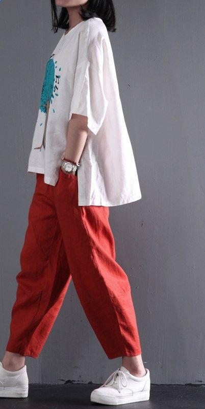 Retro linen pants women summer long pants