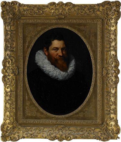 Porträtt föreställande Volckert Overlander iklädd svart mantel och kvarnstenskrage - bröststycke par Cornelis van der Voort
