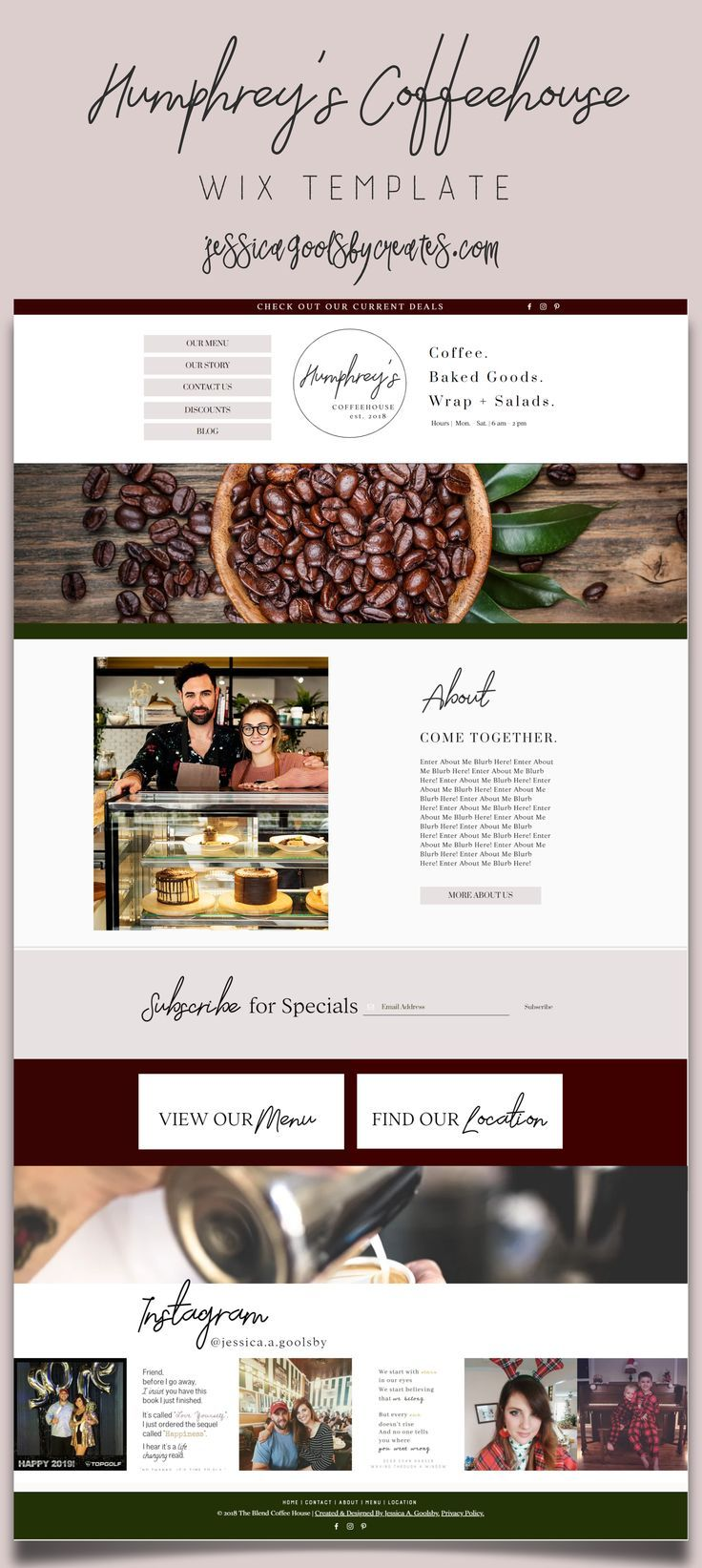 Humphreys Coffeehouse Bistro Coffee Shop Cafe Wix Website Template Wix Blog Blogging With Wix Wix Templates Wix Website Templates Wix Website Design