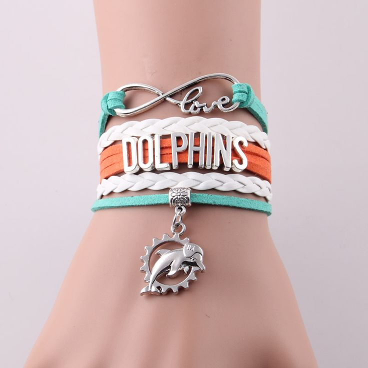 Infinity Love Miami Dolphins bracelet NFL Sport Football team Charm bracelet & bangles for women men jewelry Drop Shipping