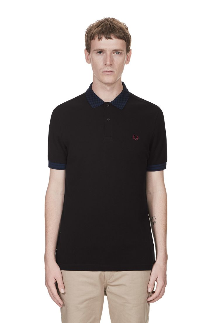 Fred Perry - Chequerboard Collar Pique Shirt Black