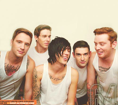 Sleeping With Sirens(: From left to right: Gabe Barham- Drums, Justin Hills - Bass, Kellin Quinn - Vocals, Jack Fowler - Guitar, and Jesse Lawson - Guitar.