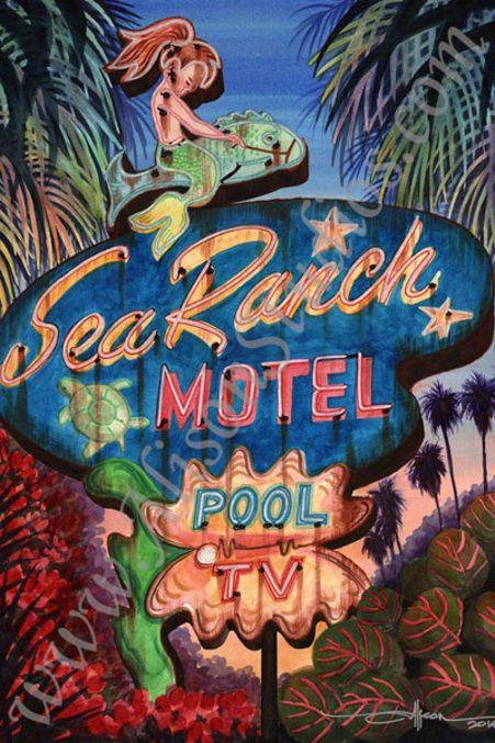 vintage neon sign art, Alison Studios, Fine Art, Original Watercolor Paintings, Vintage Neon Sign Paintings More Neon Fiction