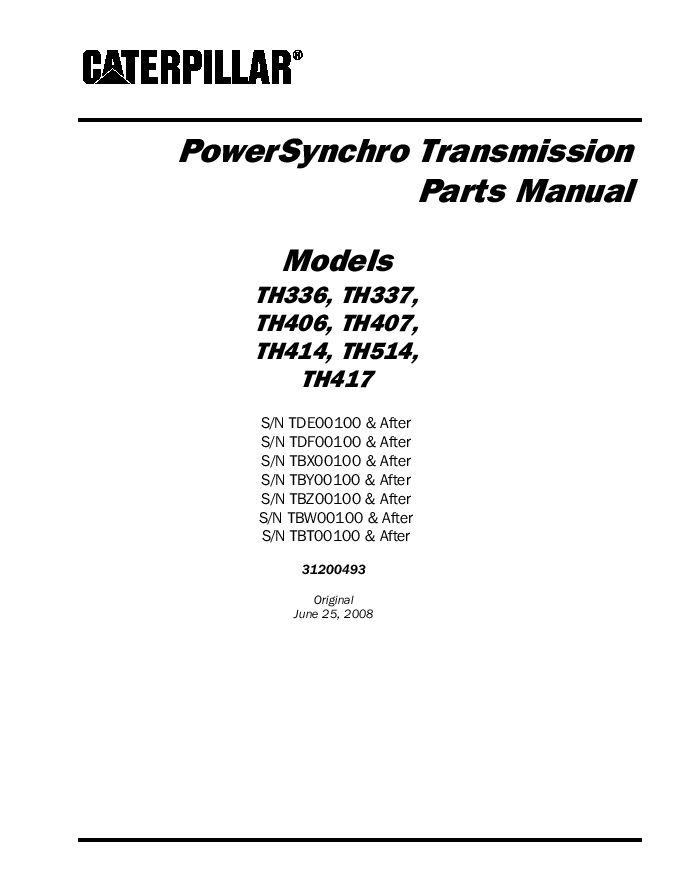 Cat Telehandler Th336 Th337 Th406 Th407 Th414 Th514 Th417 Powersynchro Transmission Parts Manual Pdf Download Service Manual Repair Manual Pdf Downloa Repair Manuals Transmission Disassembly