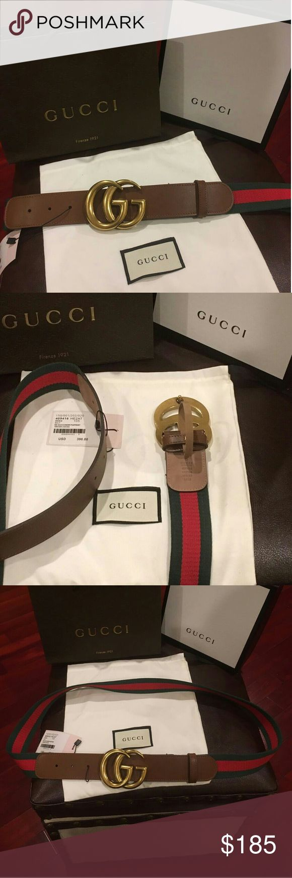 NWT New Gucci Web Belt with Double G Buckle 100% Authentic Signature Web Canvas Belt with a textured leather trim and double G buckle looks like vantage  Buckle is Antique brass toned hardware like a Gold look into it Green and Red cotton canvas Web with brown leather detail Double G buckle These Gucci belts runs in different sizes please willy ship within 24hours very fast shipping Please message me with what size you need thank you?????? Gucci Accessories Belts